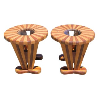 1950s Folk Art Parquetry Tables - a Pair For Sale
