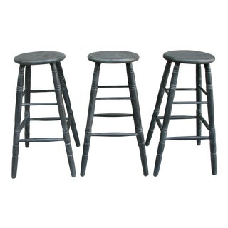 Wood Bar Stools Painted Charcoal- Set of 3 For Sale