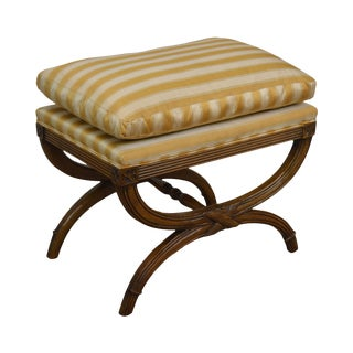Regency Style Vintage 1960's Quality X Bench For Sale