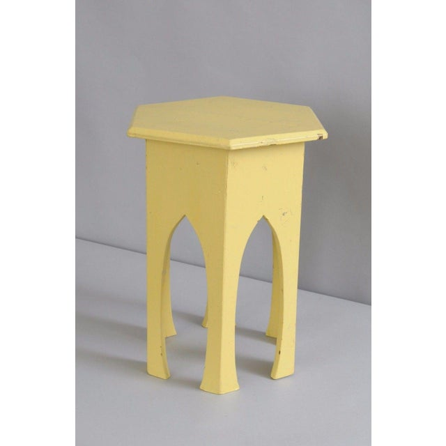 Antique Primitive Rustic Moorish Style Yellow Painted Accent Side Table Arched - Image 9 of 11
