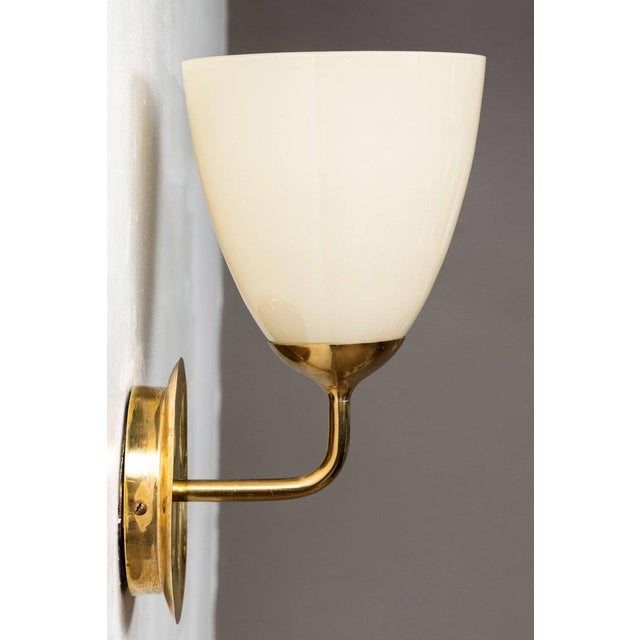 Taito Oy 1950s Scandinavian Modern Paavo Tynell for Taito Oy Glass and Brass Sconces - a Pair For Sale - Image 4 of 13