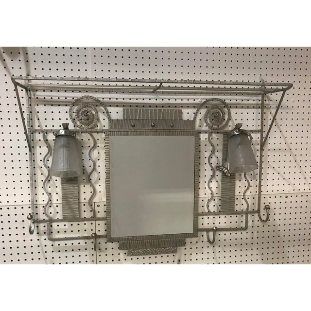 Art Deco French Art Deco Hanging Coat Rack With Pair of Signed Muller Frères Sconces For Sale - Image 3 of 13
