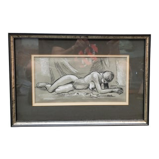 Nude Woman Pencil/Pastel Drawing by Ronald Wirth (Louisiana) (Circa 1960) For Sale