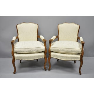 French Louis XV Style Fauteuil Armchairs White Upholstered Chairs - a Pair Preview