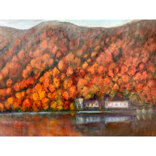 Late 20th Century Vintage Fall Landscape Painting Oil on Canvas For Sale - Image 5 of 7