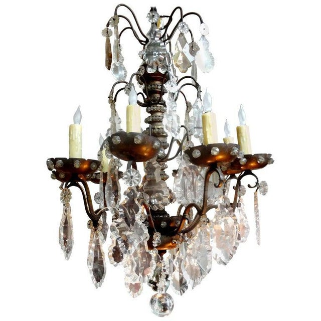 Antique French Maison Baguès Attributed Beaded and Crystal Chandelier For Sale - Image 12 of 13