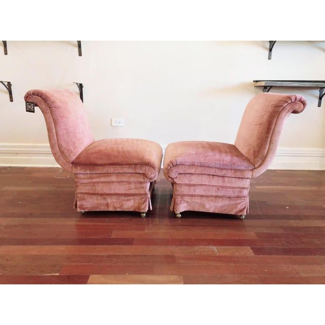 Curvilinear Pink Slipper Chairs- Pair For Sale - Image 13 of 13