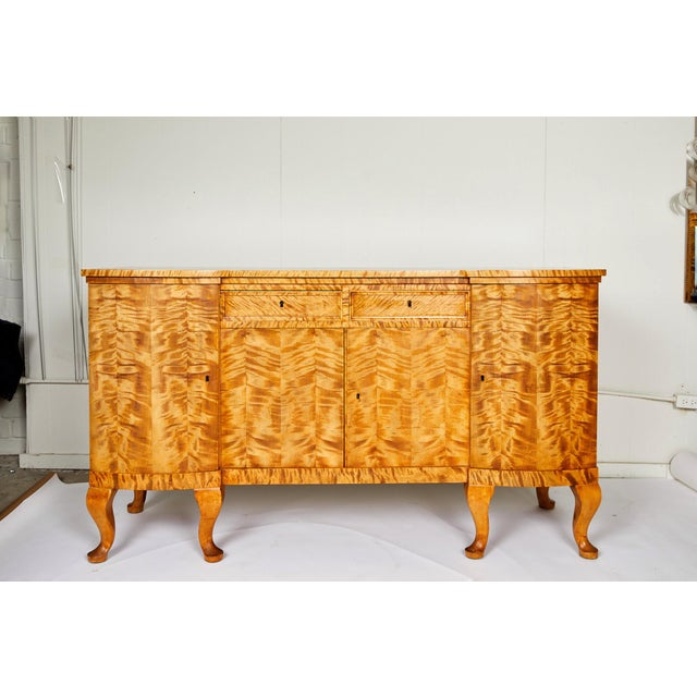 Swedish Art Deco Sideboard of Bookmatched Golden Flame Birch For Sale - Image 13 of 13