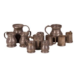 19th Century English Pewter Cups and Pitchers - Set of 10 For Sale
