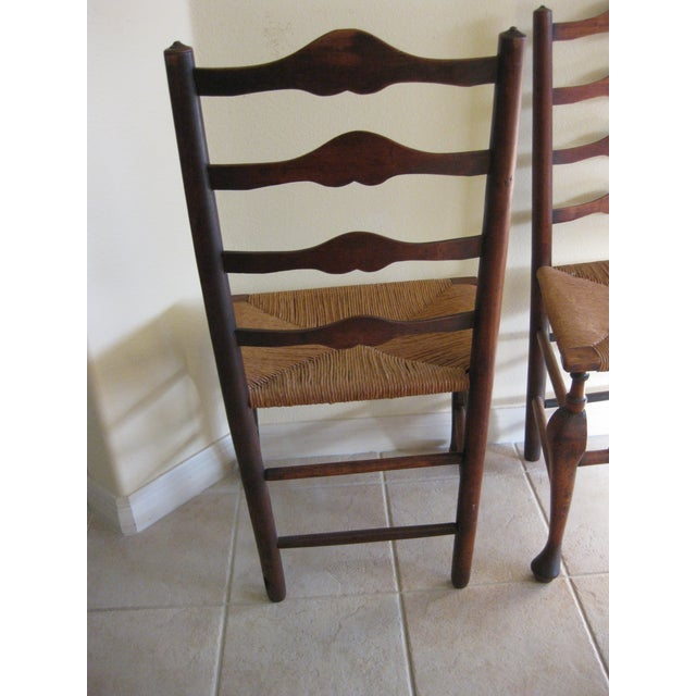 Antique English Ladderback Chairs - Pair For Sale - Image 5 of 7