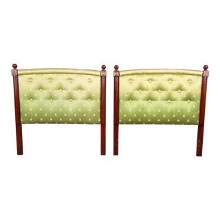Kittinger Mahogany and Upholstered Twin Size Headboards, Pair For Sale