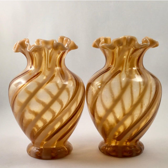 Fenton Vases With Cameo Opalescent Spiral Optic Pattern Late 1970s