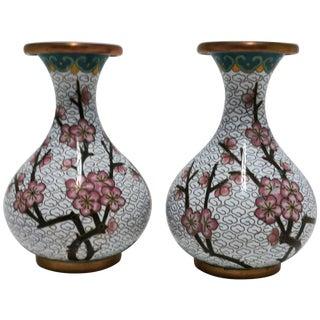 Pair of White Cloisonne Vases For Sale