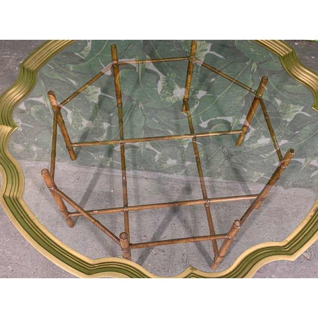 1970s Faux Bamboo Coffee Table With Brass and Glass Top For Sale - Image 5 of 8
