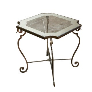 Mid-Century Wrought Iron and Frosted Glass End Table For Sale