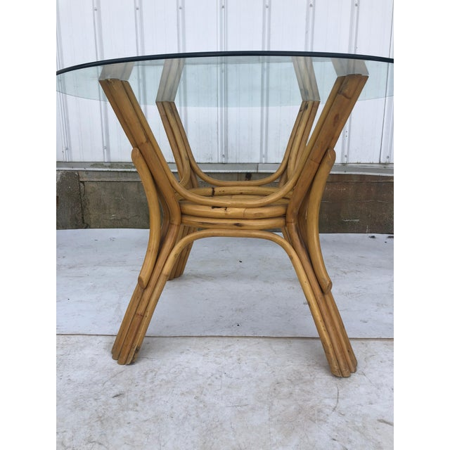 1960s Vintage Glass Top Rattan Table and Wheeled Chairs Set - Set of 5 For Sale - Image 5 of 13