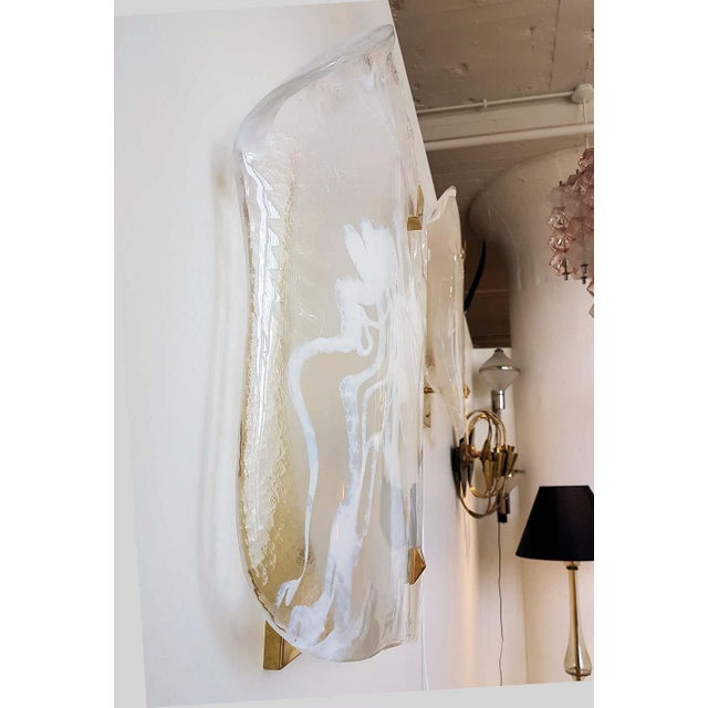 1960s Large Mid-Century Modern White/Transparent Veined Murano Glass Sconces - a Pair For Sale - Image 5 of 8