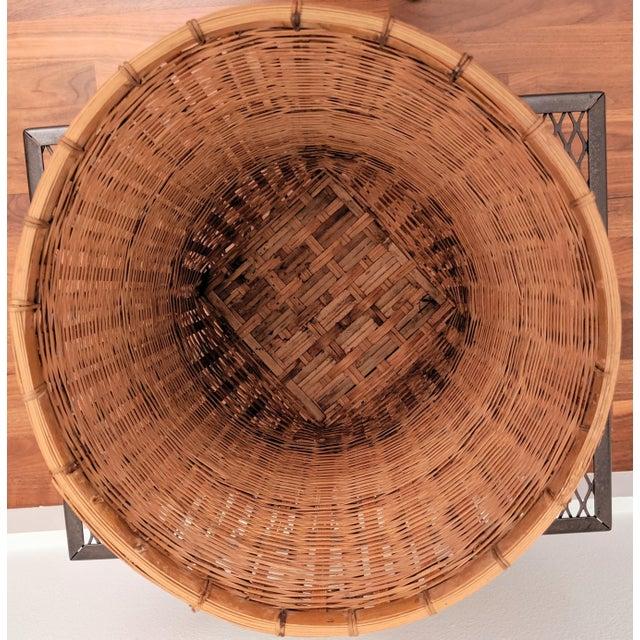 1970s Organic Modern Rattan Planter Basket For Sale - Image 5 of 8
