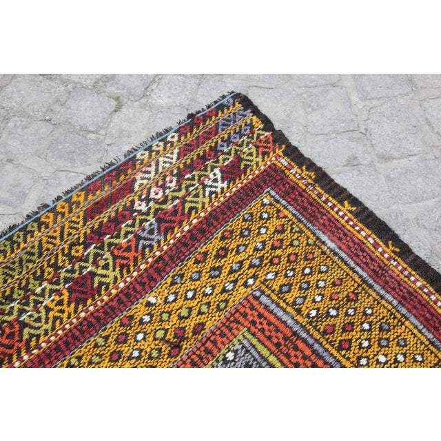 Orange Tribal Vintage Vivid Color Cicim Kilim Rug - 3′4″ × 3′5″ For Sale - Image 8 of 13