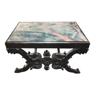 French Parisian Empire Style Carved Ebonized Coffee Table For Sale