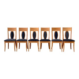 1990s Italian Clear Lacquered Upholstered Dining Chairs by Calligaris- Set of 6 For Sale