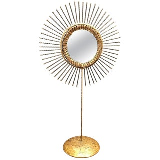 1968 Curtis Jere Double-Sided Brass Sunburst Table Mirror For Sale