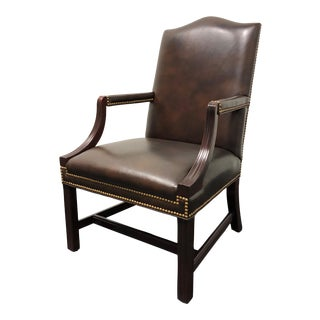 Hancock and Moore 'Jefferson' Chippendale Style Mahogany & Leather Chair For Sale
