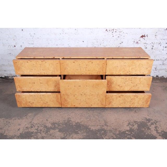 Wood Milo Baughman Burled Olive Wood Long Dresser or Credenza For Sale - Image 7 of 12