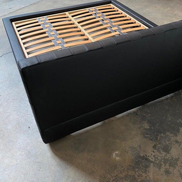 Wood Minotti 'Bartlett' Black Leather Cal King Bedframe For Sale - Image 7 of 9