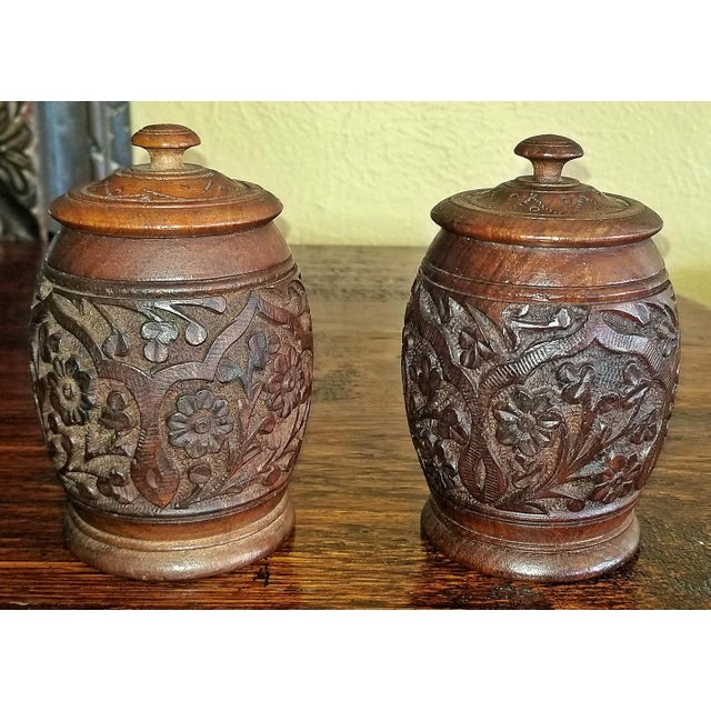 Anglo-Indian 19c Anglo Indian Pair of Carved Wooden Spice Urns For Sale - Image 3 of 10