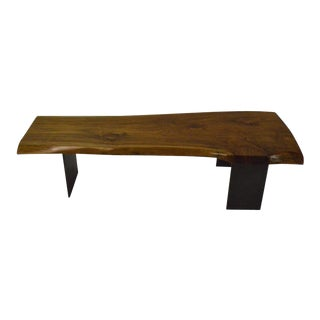 Contemporary Minimalist Teak and Blackened Stainless Steel Bench by Scott Gordon For Sale