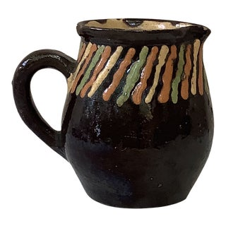 French Brown Pottery Striped Creamer Pitcher For Sale
