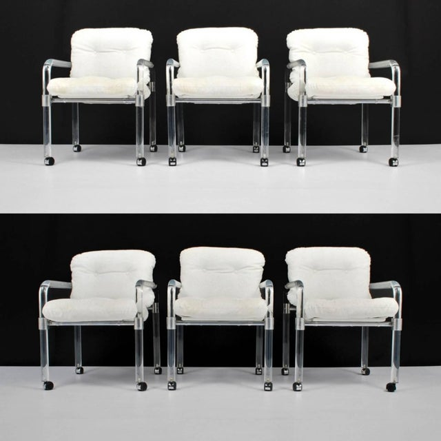 "Set of six ""Pipe Line Series II Chairs"" in molded Lucite with custom aluminum fittings by Jeff Messerschmidt, American,..."