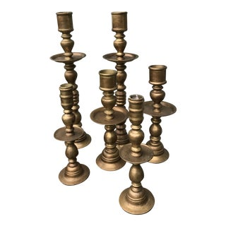 Large 20th Century Indian Brass Altar Floor Candle Stands - Set of 6 For Sale