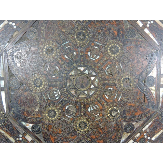 Metal Old Morrocan Inlaid Mother of Pearl, Bone & Multi Wood Octagonal Occasional Side Table For Sale - Image 7 of 13