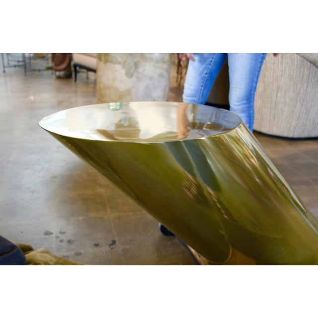 Early 21st Century Brass Coated Slanted Angle Cylinder Table For Sale - Image 5 of 10