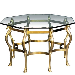 French Octagonal Shape, Bronze Horse Motif Center Table For Sale