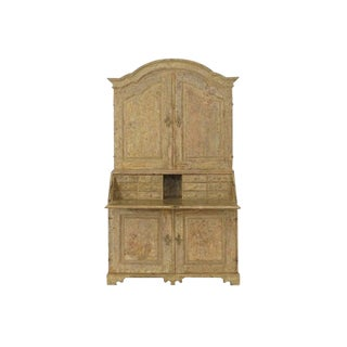 18th Century Swedish Baroque Period Secretary With Library in Original Paint For Sale