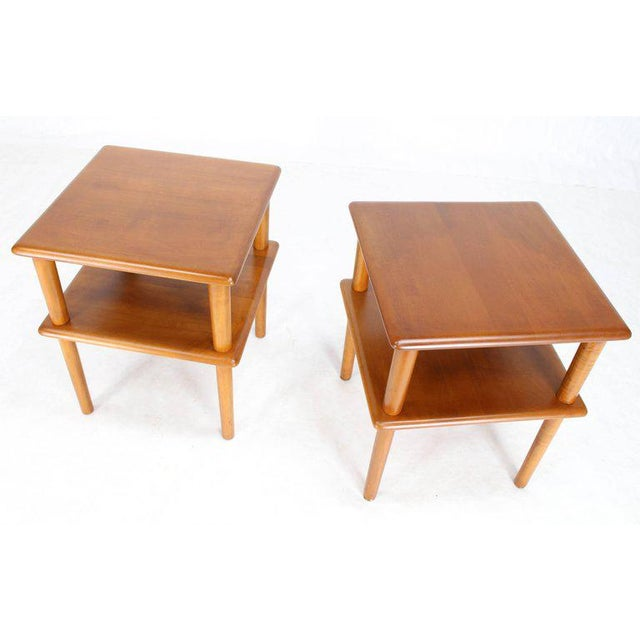 Lacquer Pair of Square Solid Maple Two-Tier End Side Tables For Sale - Image 7 of 7