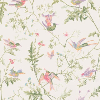 Cole & Son Botanic Style Hummingbirds Wallpaper Sample For Sale