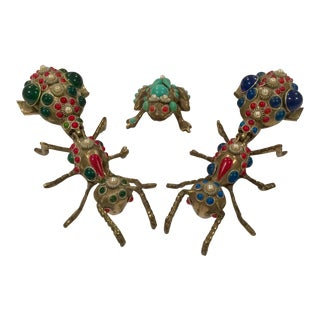 Vintage Brass Bedazzled Decorative Bug Collection - Set of 3 For Sale