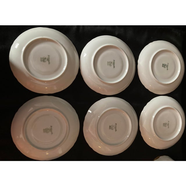 Ceramic Hutschenreuter White Porcelain and Gold Cup and Saucers - Set of 6 For Sale - Image 7 of 13