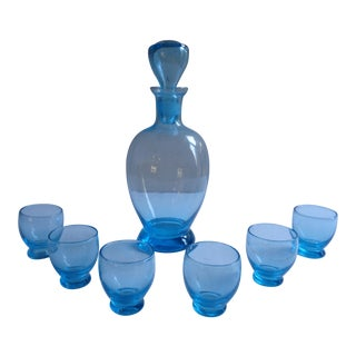 Mid-Century Aqua Blue Decanter Set With Cordial Glasses, Italy For Sale
