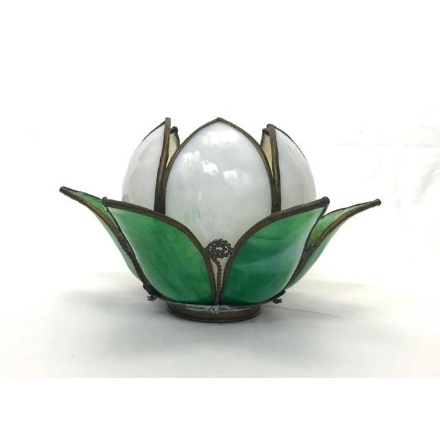 Vintage Slag Glass Tulip Light Shade - Image 3 of 8