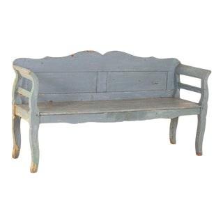 Late 19th Century Antique Hand Painted Blue Bench For Sale
