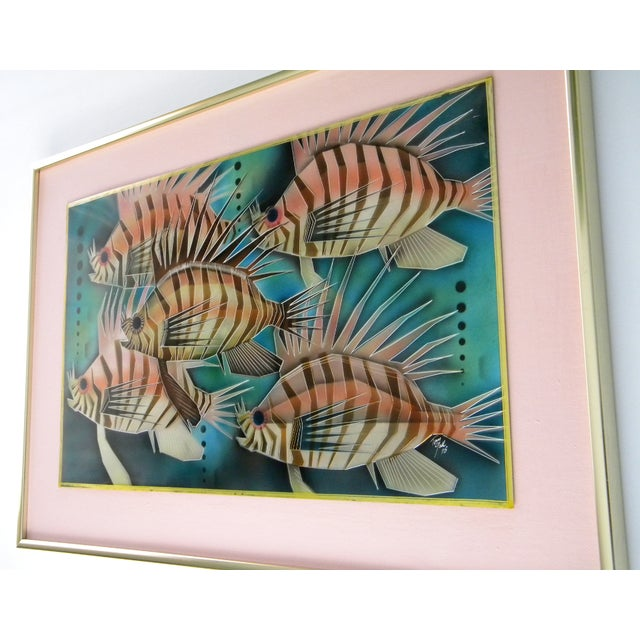 1970s 1975 Lion Fish Aluminum Etched and Airbrushed Painting by Tom Gall For Sale - Image 5 of 9