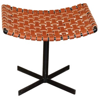 Bridges Over Time Originals Woven Leather and Iron Stool For Sale