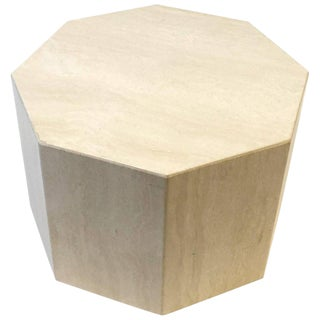 Octagonal Shape Italian Travertine Cocktail Table For Sale