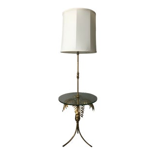 Vintage Mid-Century Hollywood Regency Italian Brass Metal Palm Tree Frond Leaves Lamp With Glass Table For Sale