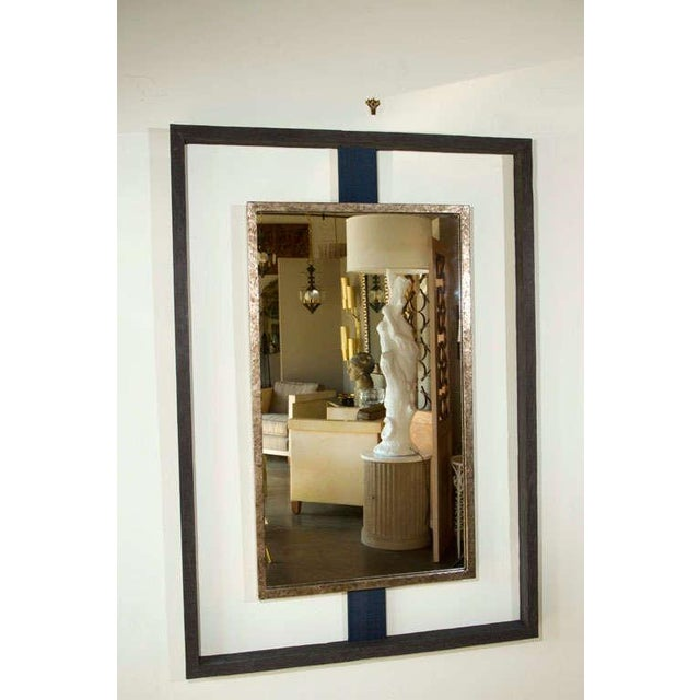Paul Marra Negative Space Mirror in distressed finish outer frame, textured gold inner frame, horse hair strut. By order.